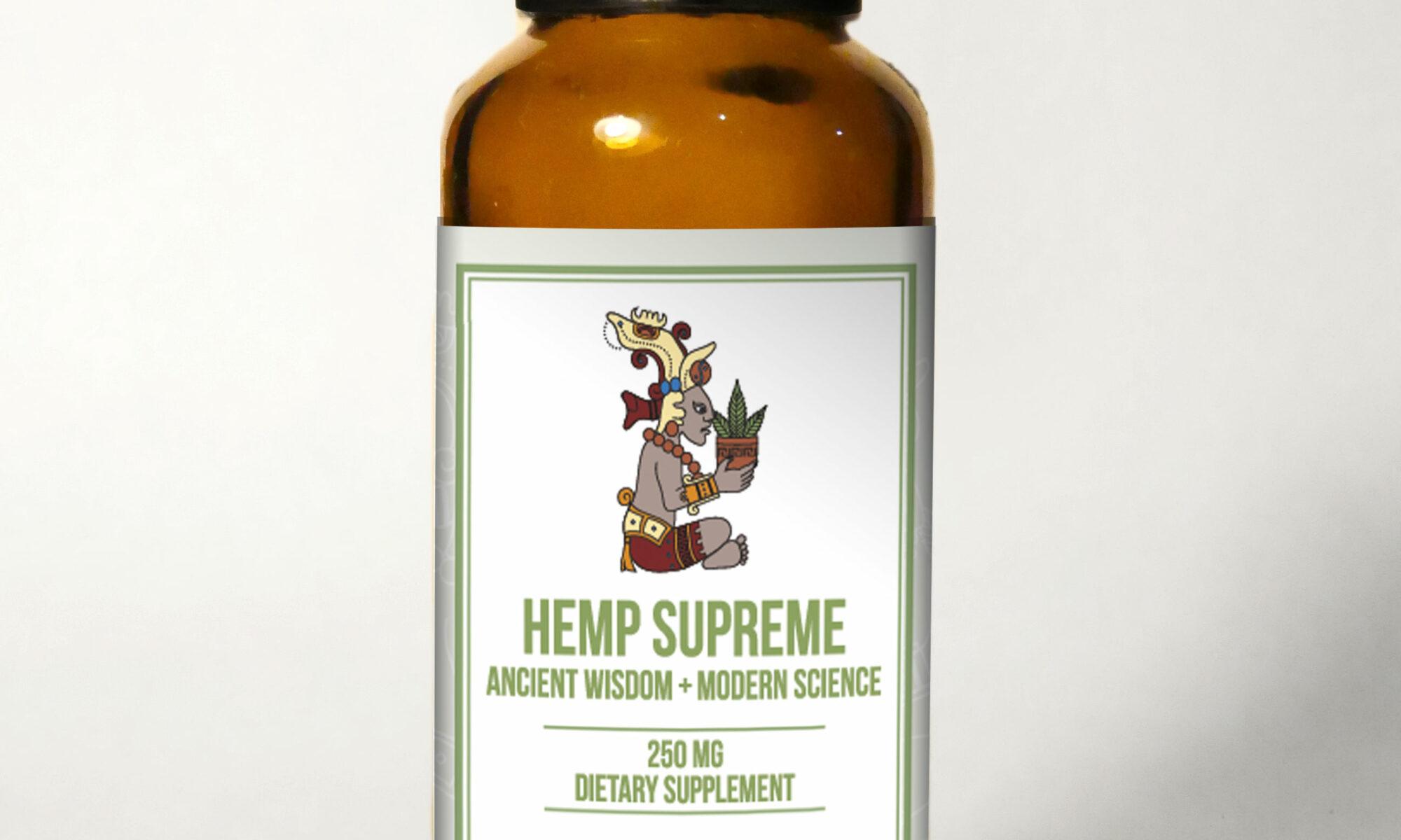 HempSupreme Bottle withBG 2000x1200 - Hemp Supreme Full Spectrum Oil (250 mg CBD per 30 ml.)