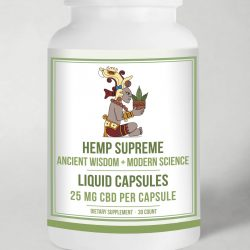 HempSupremeCapsules Bottle withBG scaled 250x250 - Hemp Supreme Full Spectrum 25 mg. Capsules
