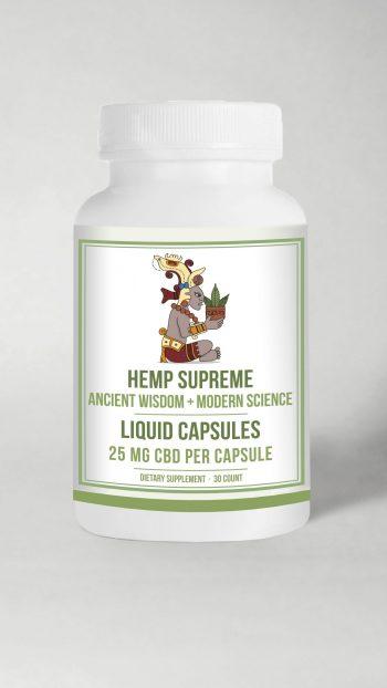 HempSupremeCapsules Bottle withBG scaled 350x622 - Hemp Supreme Full Spectrum 25 mg. Capsules