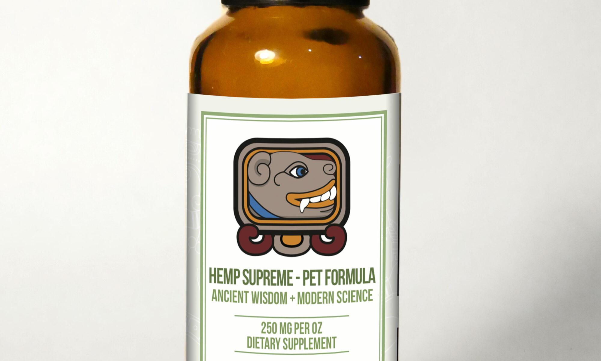 Pet Bottle withBG 2000x1200 - Hemp Supreme Full Spectrum Oil - Pet Formula (250 mg CBD per 30 ml.)