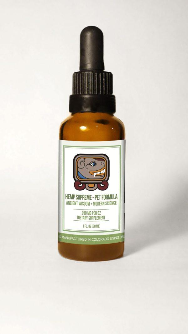 Pet Bottle withBG scaled 600x1067 - Hemp Supreme Full Spectrum Oil - Pet Formula (250 mg CBD per 30 ml.)